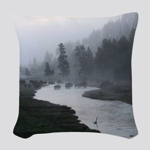 Bison Crossing Woven Throw Pillow